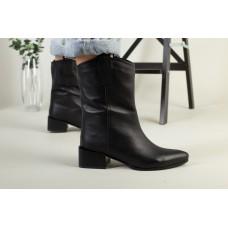 Полусапожки женские кожаные черные на небольшом каблуке без замка зимние