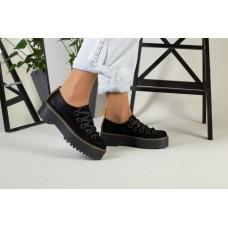 Женские кожаные черные туфли на толстой подошве