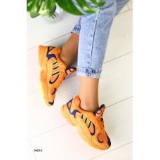 Женские оранжевые замшевые кроссовки с синими вставками, 36