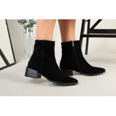 Ботильоны женские замшевые черные на небольшом каблуке демисезонные