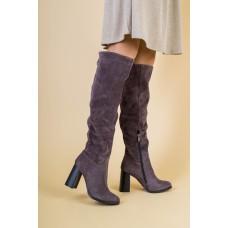 Зимние натуральные замшевые сапоги-ботфорты на удобном каблуке 39