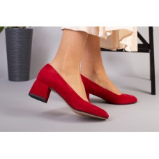 Туфли женские велюровые красные с обтянутым каблуком
