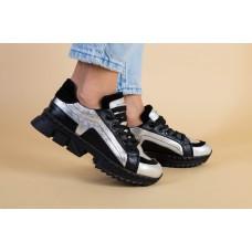 Женские кроссовки на массивной подошве серые с черным 37