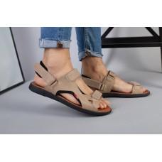 Мужские кожаные сандалии оливкового цвета