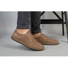 Туфли мужские из натурального нубука цвета капучино, перфорация