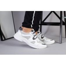 Мужские белые кожаные кроссовки с вставками сетки