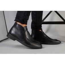 Демисезонные мужские черные кожаные лоферы
