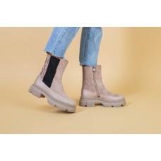 Ботинки женские замшевые бежевые с кожаной вставкой, деми
