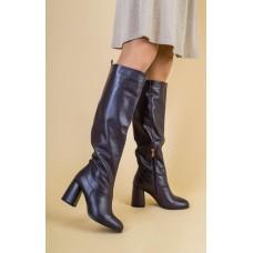 Женские бордовые кожаные зимние сапоги на каблуке 38