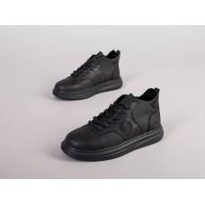 Кроссовки мужские кожаные черные зимние