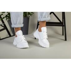 Женские кожаные белые кроссовки на толстой подошве
