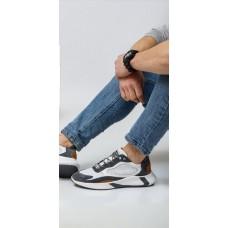 Кроссовки мужские кожаные серые с замшевыми вставками с перфорацией