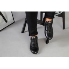 Туфли мужские черные кожаные на шнурках 43