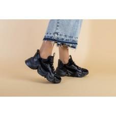 Женские черные кроссовки, комбинированые из кожи, замши и сетки