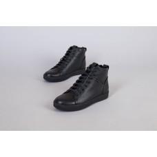 Ботинки мужские кожаные черные на шнурках демисезонные