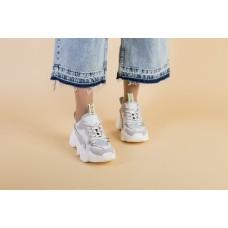 Женские бежевые кроссовки, комбинированые из кожи, замши и сетки