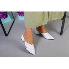 Женские кожаные белые закрытые шлепанцы, 39