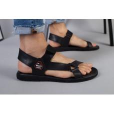 Мужские кожаные черные сандалии на липучке