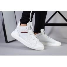 Мужские белые высокие кожаные кроссовки с перфорацией, на шнурках и с резинкой