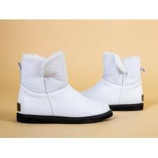 Женские зимние белые кожаные угги 43