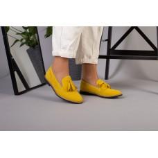 Женские замшевые туфли с кисточкой, желтый замш 39