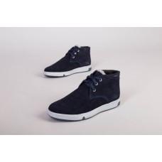 Мужские зимние ботинки синяя замша 45