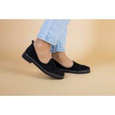 Женские черные туфли без каблука замшевые 38