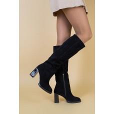 Женские демисезонные сапоги замшевые черные на каблуке 39