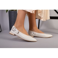 Женские туфли без каблука бежевые кожаные 40