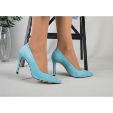 Лодочки женские велюровые голубого цвета