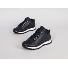 Ботинки мужские кожаные синие на шнурках, зимние