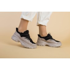 Женские бежевые кожаные кроссовки 40