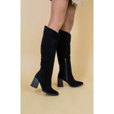 Женские демисезонные сапоги замшевые черные на каблуке 40