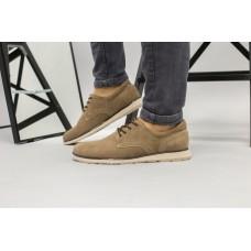 Мужские бежевые замшевые туфли на шнурках