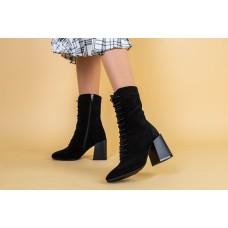Ботинки женские замшевые черные на каблуке демисезонные