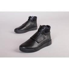 Ботинки мужские кожаные черные, на шнурках и липучке, деми