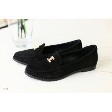 Женские черные замшевые туфли без каблука, 33