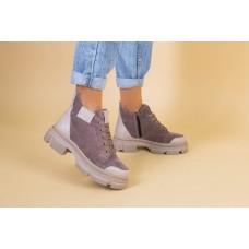 Ботинки женские замшевые цвета латте с кожаной вставкой