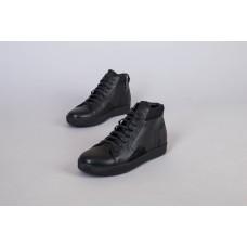 Ботинки мужские кожаные черные демисезонные на шнурках