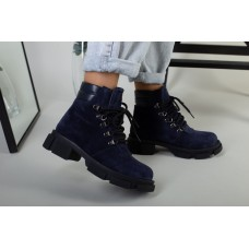 Ботинки женские замшевые синие на шнурках демисезонные