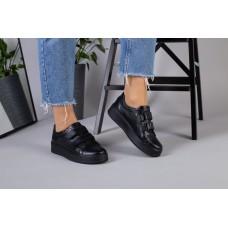 Женские кожаные кеды черные 41