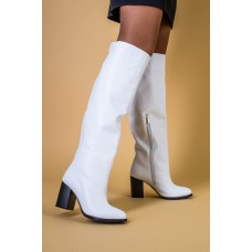 Белые кожаные зимние сапоги на каблуке, 36