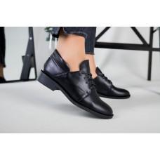 Женские кожаные туфли на низком ходу черные 38