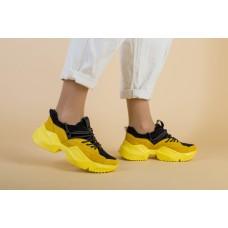 Женские замшевые кроссовки на масивной подошве, желтый с черным