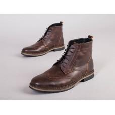 Мужские зимние кожаные коричневые ботинки Оксфорд