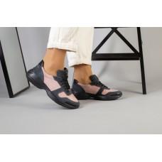 Женские кроссовки из замши и кожи, цвет пудра с серым 41