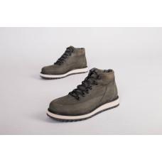 Мужские зимние ботинки из нубука на шнурках, цвет хаки
