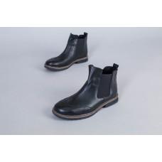 Ботинки мужские кожаные черные с резинкой по бокам, на байке