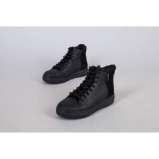 Ботинки мужские кожаные черные с замшевой вставкой зимние