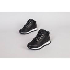 Ботинки мужские кожаные черные на шнурках, зимние